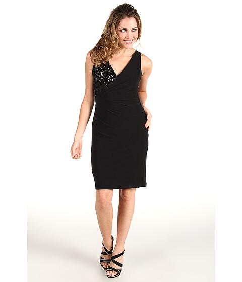 Rochii Badgley Mischka - Mark & James Asymmetrical Sequin Rouch Dress - Black