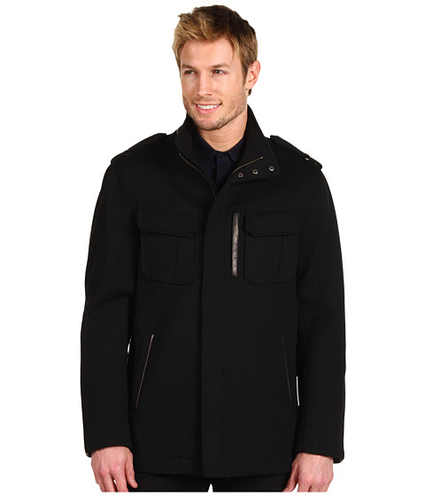 Jachete Cole Haan - Modern Twill Zip Jacket w/ Leather Details - Black