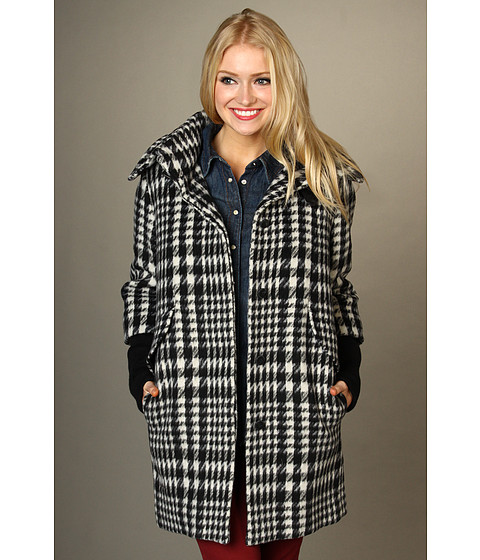 Jachete Cole Haan - Blurred Houndstooth Coat w/ Ribbed Knit - Black/White