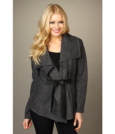 Jachete Cole Haan - Cascading Blanket Wool Jacket w/ Leather Tie - Grey