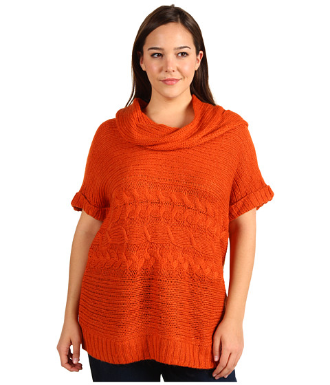 Tricouri Michael Kors - Plus Size S/S Horizontal Cable Cowl Neck Sweater - Orange Spice