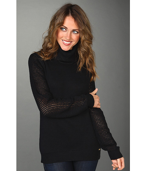 Tricouri Calvin Klein - Open Stitch T-neck Sweater - Black