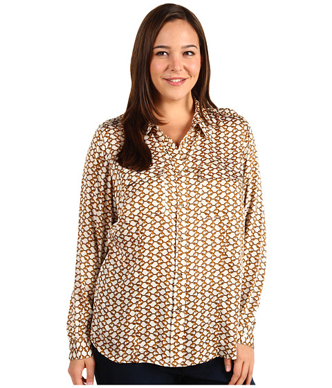 Camasi Michael Kors - Plus Size Durham Chain Print L/S Button Front - Cream