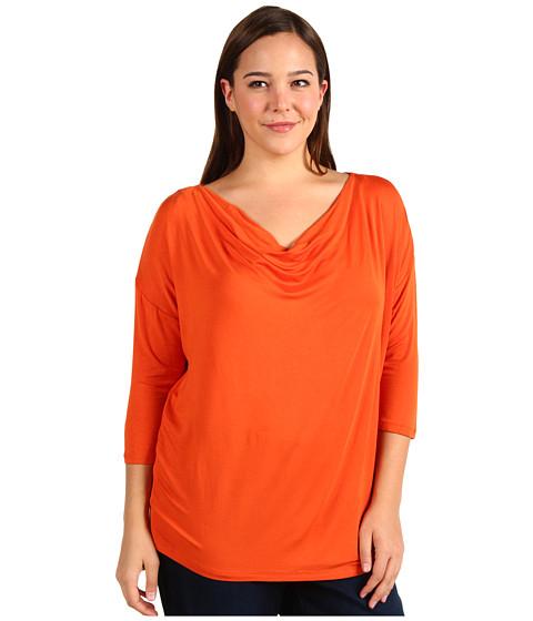 Bluze Michael Kors - Plus Size 3/4 Sleeve Cowl Neck Top - Orange Spice