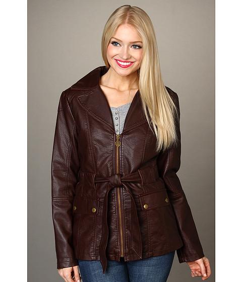 Jachete Jessica Simpson - Overdyed Faux Leather Blazer - Burgundy
