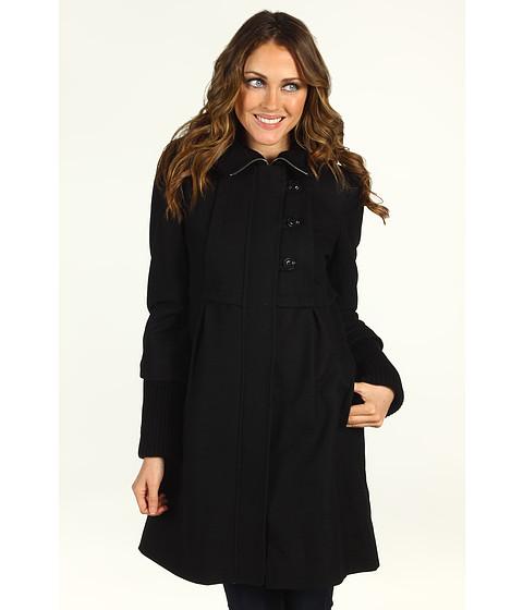 Jachete DKNY - Knit Trim Babydoll Coat - Black