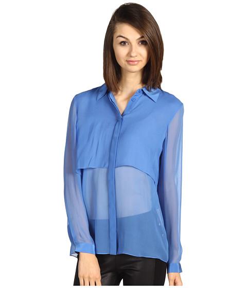 Camasi Tibi - Silk Chiffon Shirt with Drape Back - French Blue