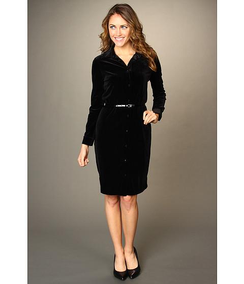 Rochii Anne Klein - Velvet Polo Dress - Black