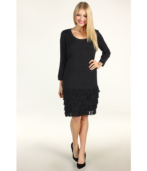 Rochii Calvin Klein - Drop Waist Dress With Tiered Fringe - Charcoal