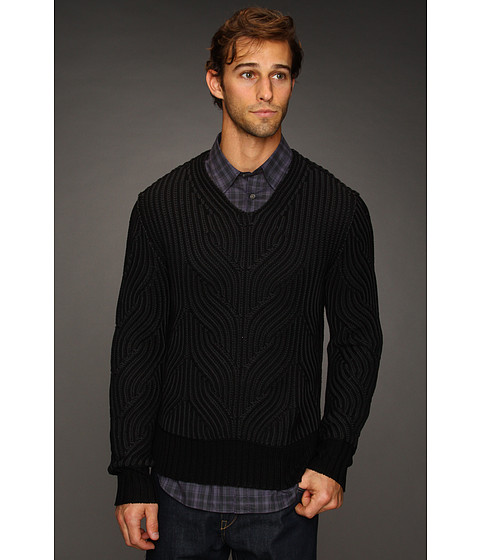 Bluze John Varvatos - Decorative Stitch Silk Cotton Pullover - Black