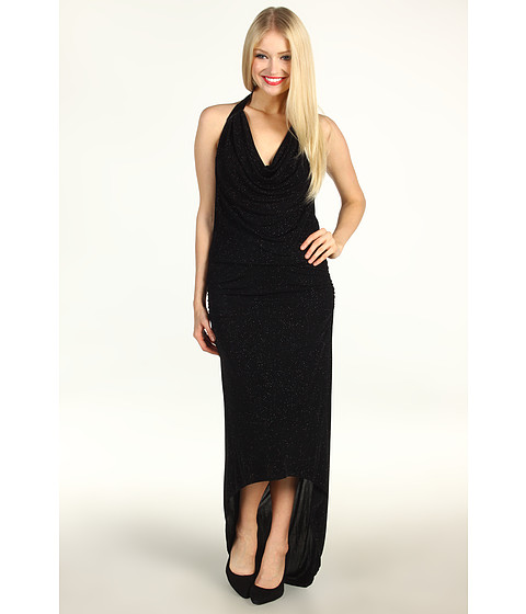 Rochii Laundry by Shelli Segal - Cowl Neck Glitzy Knit Halter Gown - Black