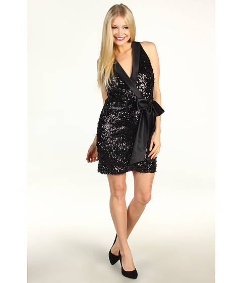 Rochii Laundry by Shelli Segal - Faux Wrap Sequin Dress - Black