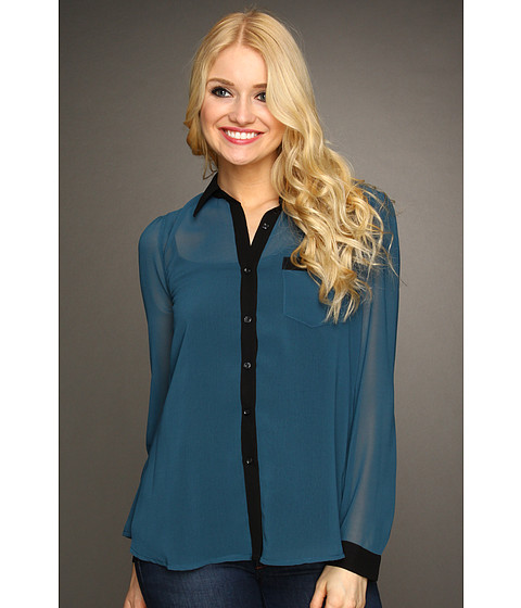 Bluze Christin Michaels - Wilma Chiffon Blouse - Teal Navy