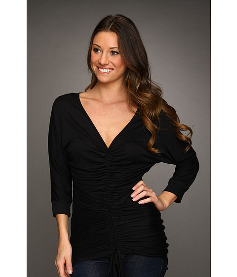 Bluze Christin Michaels - Rae Rouched V-Neck Top - Black