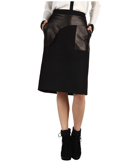 Fuste Costume National - Skirt + Leather - Charcoal