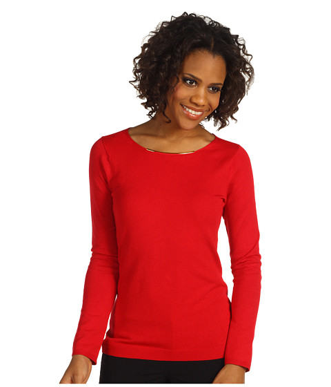 Tricouri Calvin Klein - Sweater w/ Neck Hardware - Rouge