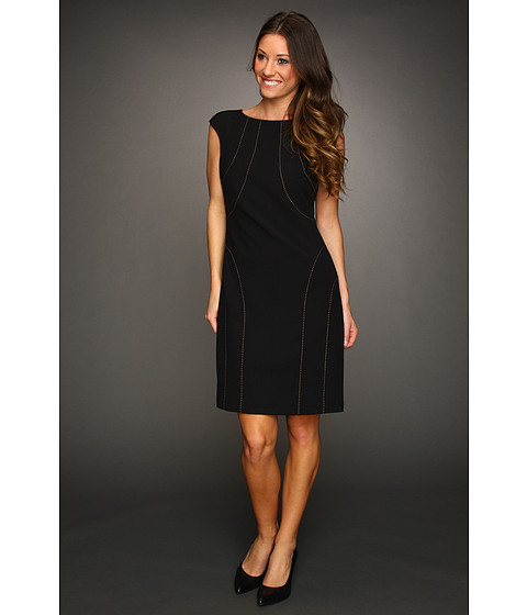 Rochii Ellen Tracy - Cap Sleeve Dress with Stitching - Black