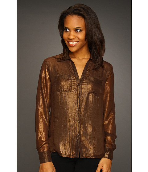 Tricouri Jones New York - Long Sleeve Double Bust Pocket Blouse - Dusty Copper
