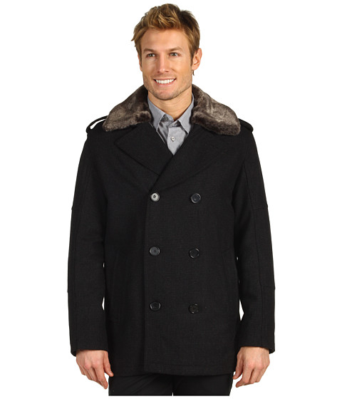 Jachete Cole Haan - Double Breasted Wool Peacoat - Charcoal