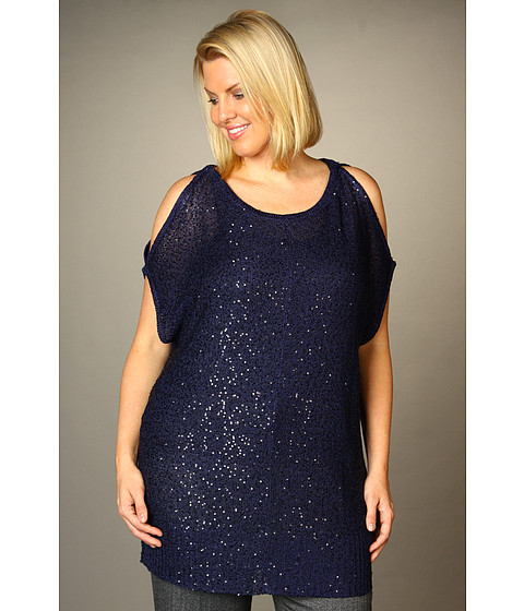 Tricouri DKNY - Plus Size Cold Shoulder Sequin Tunic - Night Sky