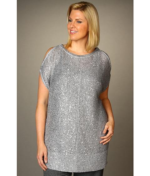 Tricouri DKNY - Plus Size Cold Shoulder Sequin Tunic - Silver