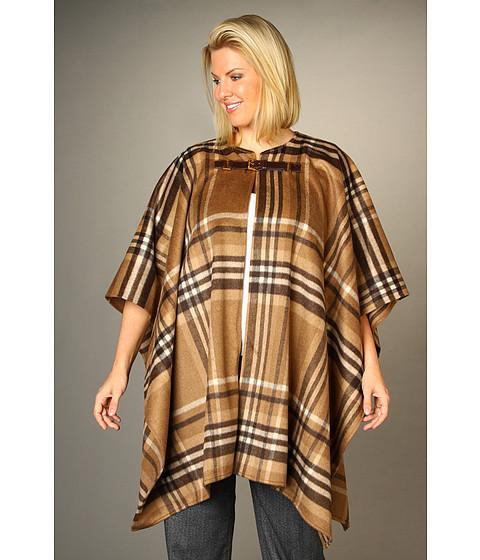 Jachete Michael Kors - Plus Size Plaid Blanket Buckle Coat - Dark Camel