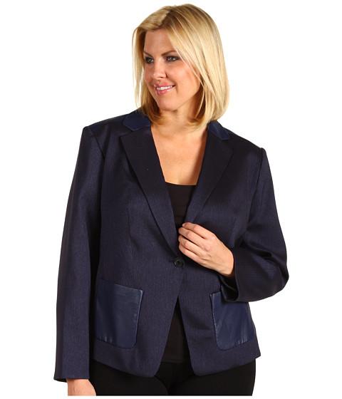 Jachete Anne Klein - Plus Size Herringbone Jacket - Navy