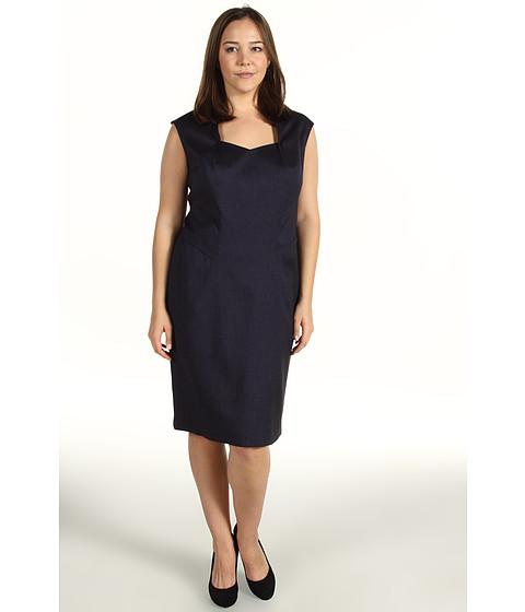 Rochii Anne Klein - Plus Size Herringbone Dress - Navy
