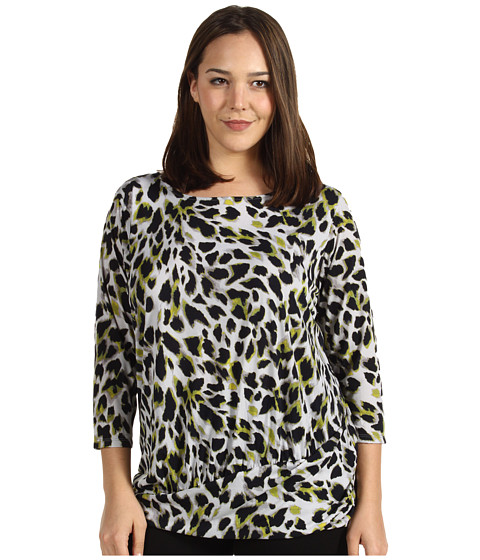 Bluze Anne Klein - Plus Size Animal Print Shirred Top - Citrine Multi