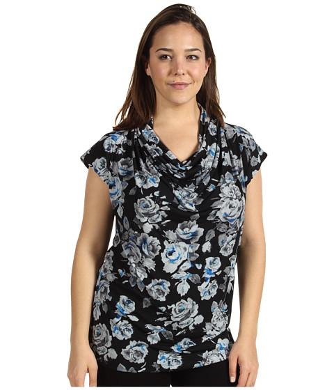 Bluze Anne Klein - Plus Size Floral Print Cowl Neck Top - Cerulean Multi