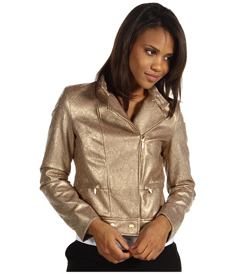 Jachete Anne Klein - Faux Snakeskin Motorcycle Jacket - Gold Dust