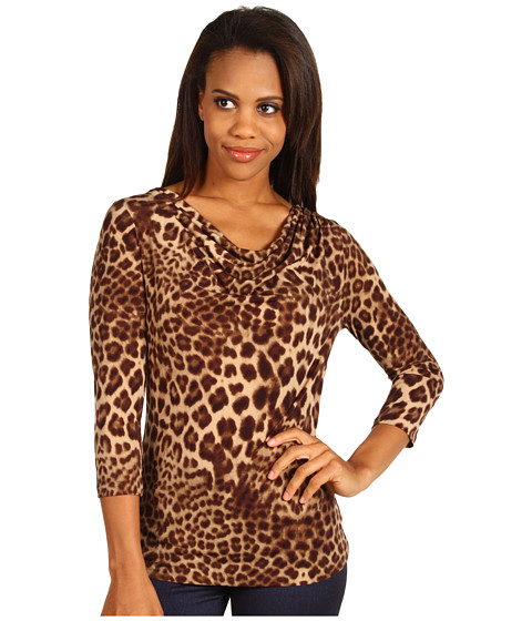 Bluze Anne Klein - Leopard Print Drape Neck Top - Bark Multi