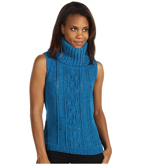 Pulovere Anne Klein - S/S Cowl Neck Cable Pullover - Peacock Blue