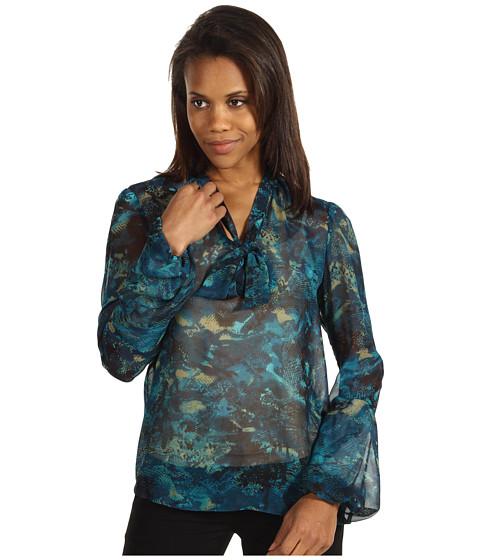 Bluze Anne Klein - Snakeskin Print Bow Blouse - Bark Multi