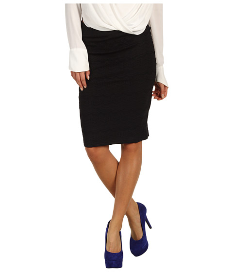 Fuste DEPT - Lace Heavy Jersey Pencil Skirt - Black