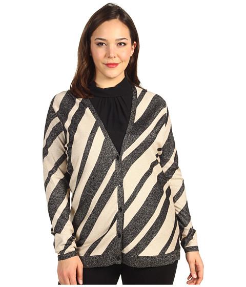 Pulovere Anne Klein - Plus Size Stripe L/S V-Neck Cardigan - Black/Champagne
