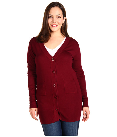 Bluze Christin Michaels - Plus Size Raffa Long Sleeve Cardigan - Maroon
