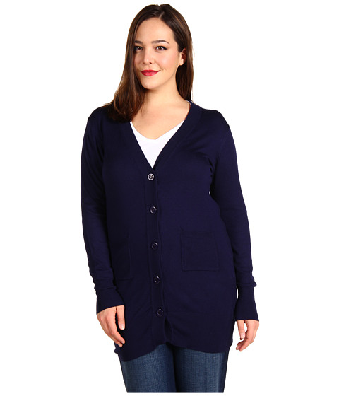Bluze Christin Michaels - Plus Size Raffa Long Sleeve Cardigan - Navy