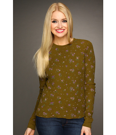 Pulovere Michael Stars - Long Sleeve Floral Print Thermal - Olive