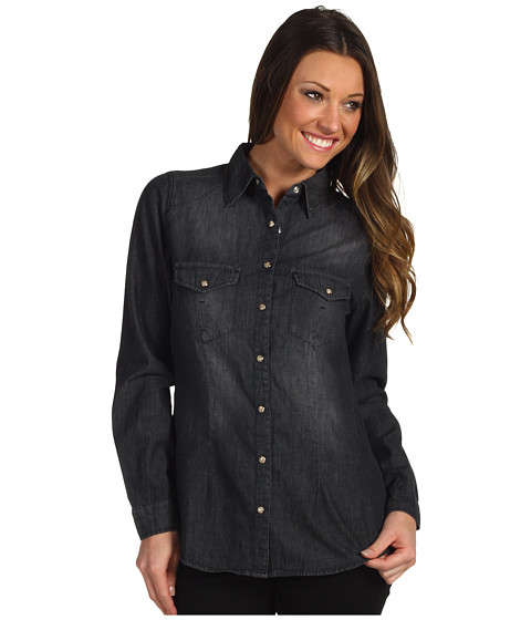 Bluze Christin Michaels - Liza Denim Button Down - Black