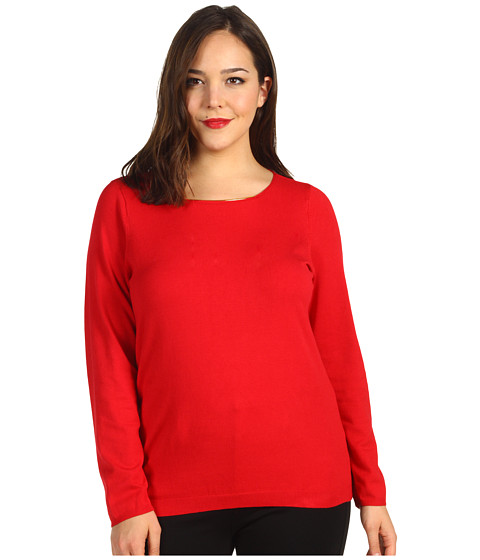 Tricouri Calvin Klein - Plus Size L/S Sweater w/ Hardware - Rouge