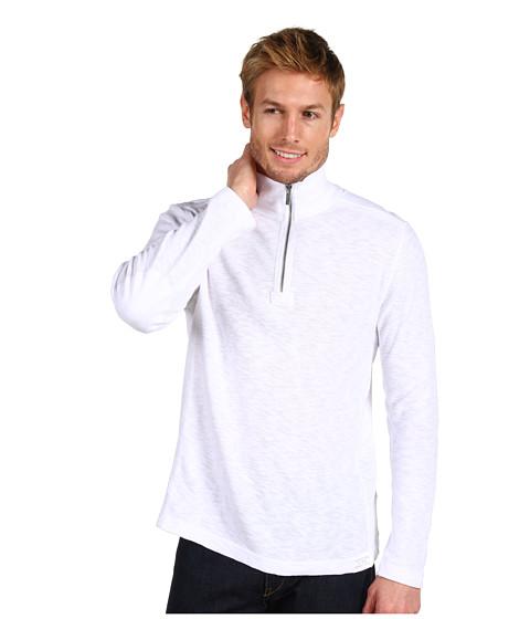 Tricouri Calvin Klein Jeans - L/S Half Zip Textured Knit Shirt - White