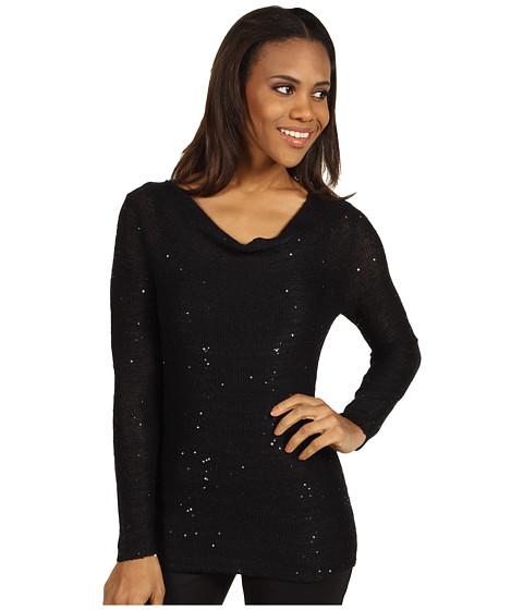 Tricouri Calvin Klein Jeans - Drape Neck Sequin Sweater - Black