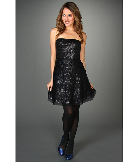 Rochii BCBGMAXAZRIA - Seri Strapless Sequin Cocktail Dress - Black