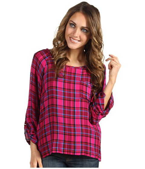 Bluze Splendid - Charlee Plaid Sccopneck Top - Raspberry