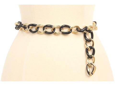 Curele Anne Klein - Anne Klein Resin and Metal Link Chain Belt - Black Gold