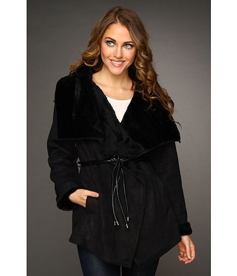 Jachete Hilary Radley Studio - Faux Shearling Belted Jacket - Black