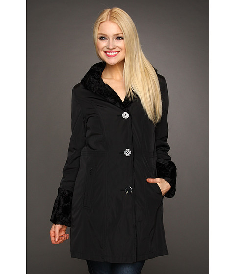 Jachete Hilary Radley Studio - Reversible to Faux Fur Storm Single Breasted Coat - Black