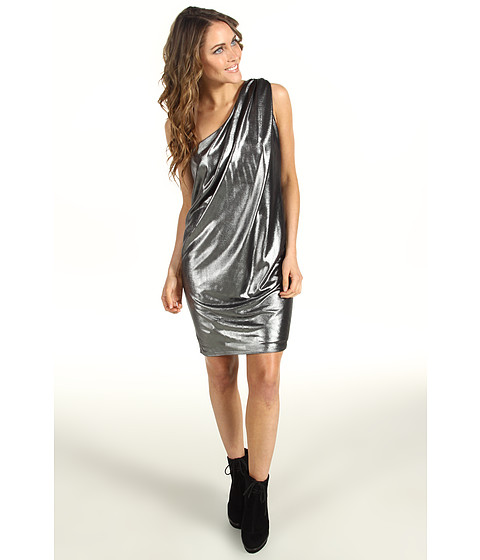 Rochii Vince Camuto - Pleated Metallic One-Shoulder Dress - Silver