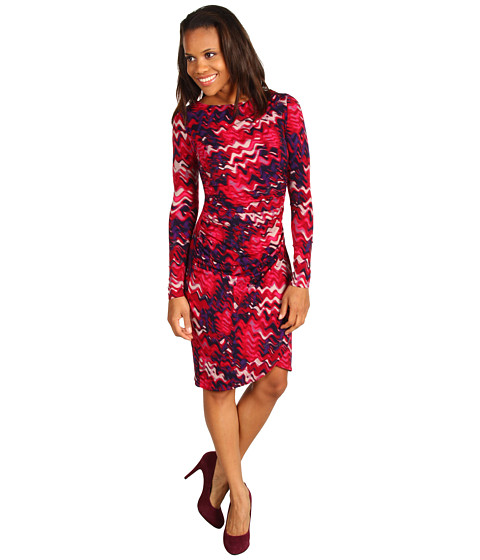 Rochii Kenneth Cole New York - Pulse Printed Front Draped Dress - Holly Red Combo